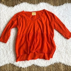 Anthropologie Ben & Lucia Orange Top Small